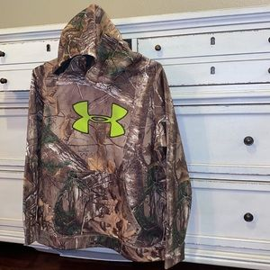 Under Armour Camp hoodie neon green logo Youth XL